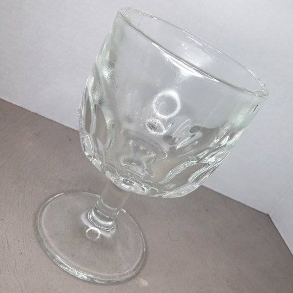 Vintage Glass Goblet Clear Wine Glass Thumbprint